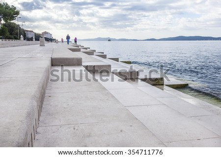 Zadar sea organs - musical instrument powered by the underwater sea stream - stock photo