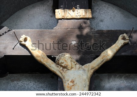 ZAGORJE, CROATIA - SEPTEMBER 24: Roadside Crucifix in Zagorje region, Croatia on September 24, 2014.  - stock photo