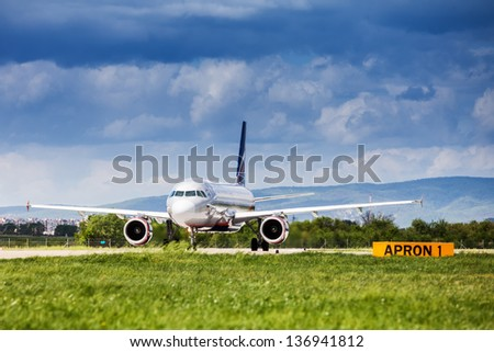 ZAGREB, CROATIA - APR 28: Russian Airlines (Aeroflot) Airbus A320-214 on runway at Pleso Airport in Zagreb, Croatia, preparing to take off