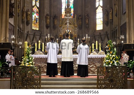 ZAGREB, CROATIA - 05 APRIL: Easter Mass at the Cathedral of the Assumption of Virgin Mary in Zagreb on April 05, 2015 - stock photo