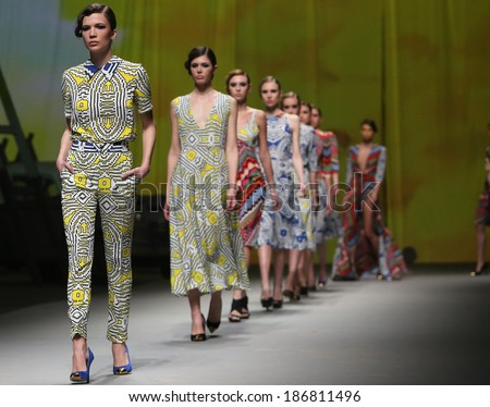 "ZAGREB, CROATIA - APRIL 11: Fashion models wear clothes made by Anamarija Asanovic on ""CRO A PORTER"" show on April 11, 2014 in Zagreb, Croatia."