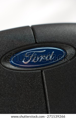Zagreb, Croatia - April 15, 2015: Ford logo on Ford Fiesta car keys. The Ford Motor Company is an American multinational automaker. Ford is the second-largest U.S.-based automaker. - stock photo