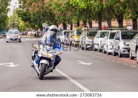 ZAGREB, CROATIA - APRIL 26, 2015: Police motorcycle during final 5th race in Tour of Croatia. It is international cycling race run along the Adriatic coast, Istria and inland.