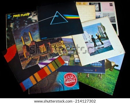 ZAGREB , CROATIA - AUGUST 31 - collection of old vinyl records of rock group Pink Floyd , product shot - stock photo