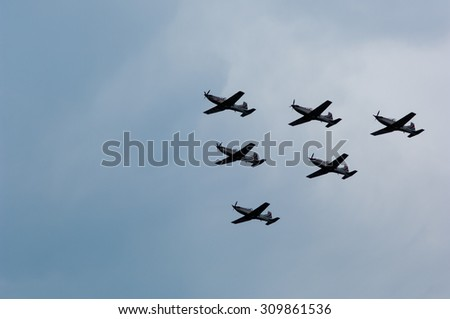 Zagreb, Croatia - August 2, 2015: Demonstration of Croatian Armed Forces during military parade rehearsal held in celebration of 20th anniversary of liberation of Croatia.