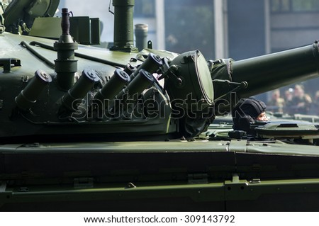 Zagreb, Croatia - August 1, 2015: Demonstration of Croatian army corps during military parade rehearsal held in celebration of 20th anniversary of liberation of Croatia. - stock photo