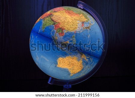 ZAGREB, CROATIA - AUGUST 15, 2014: Light globe with close up Australia and Asia