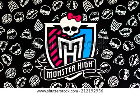 ZAGREB , CROATIA - AUGUST 21 , 2014 :  Monster high children toy brand logo printed on box, product shot - stock photo