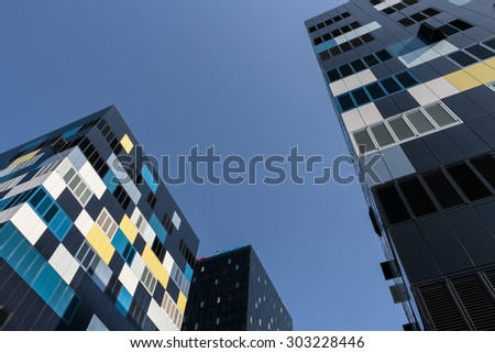 ZAGREB, CROATIA - AUGUST 02, 2015: New metal and black glass business buildings in downtown of Zagreb - stock photo
