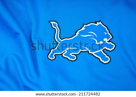 ZAGREB , CROATIA - AUGUST 19 , 2014 :  NFL Detroit Lions club logo printed on textile equipment ,product shot    - stock photo