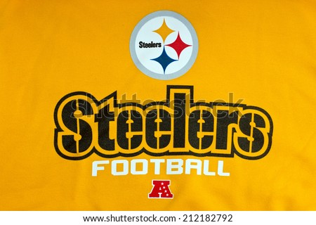 ZAGREB , CROATIA - AUGUST 21 , 2014 :  NFL Pittsburgh Steelers club logo printed on textile equipment ,product shot - stock photo
