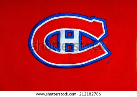 ZAGREB , CROATIA - AUGUST 21 , 2014 :  NHL Montreal Canadiens club logo printed on textile equipment ,product shot - stock photo