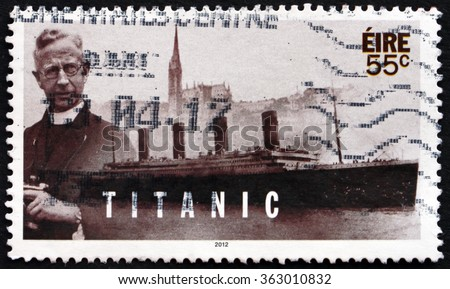 ZAGREB, CROATIA - DECEMBER, 2015: a stamp printed in Ireland shows Pater Francis Browne, Photographer, Centenary of Titanic's Sinking, circa 2012