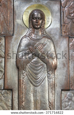 ZAGREB, CROATIA - DECEMBER 07: Altar of the Virgin Mary in the church of Saint Blaise in Zagreb, Croatia on December 07, 2011 - stock photo