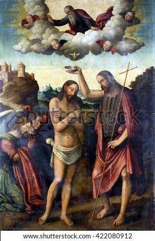 ZAGREB, CROATIA - DECEMBER 12: Bartolomeo Coda: Baptism of Christ, exhibited at the Great Masters Renaissance in Croatia, opened December 12, 2011. in Zagreb, Croatia - stock photo