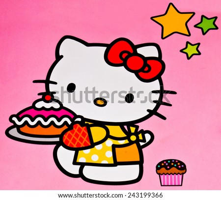 ZAGREB , CROATIA - DECEMBER 3rd , 2014 :  Hello kitty children cartoon character printed on box ,product shot - stock photo