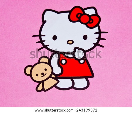 ZAGREB , CROATIA - DECEMBER 3rd , 2014 :  Hello kitty children cartoon character printed on card ,product shot - stock photo