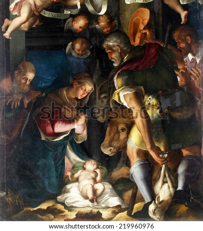 ZAGREB, CROATIA - DECEMBER 12: Unknown artist: Nativity, Adoration of the shepherds, exhibited at the Great Masters renesnse in Croatia, opened December 12, 2011. in Zagreb, Croatia - stock photo