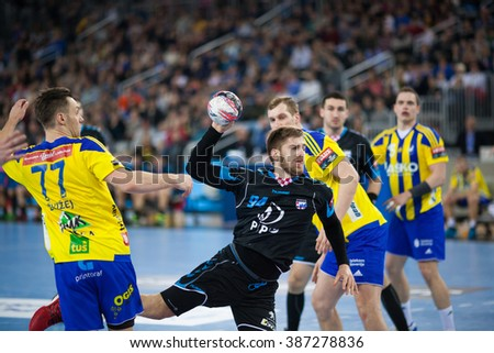 ZAGREB, CROATIA - FEBRUARY 27, 2016: EHF Men's Champions League, Group (A) phase. Match between HC Zagreb PPD and HC Celje. PAVLOVIC Domagoj (94) with the ball.