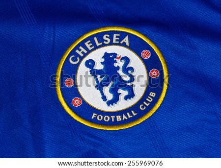 ZAGREB , CROATIA - 19 FEBRUARY 2015 - Logo of english London football club Chelsea printed on shirt, product shot - stock photo