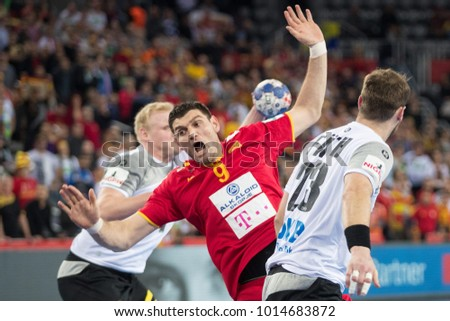 ZAGREB, CROATIA JANUARY 17, 2018: EHF EURO Croatia 2018, Group (C) phase. Germany VS Macedonia. Ace Jonovski (9) and Steffen FATH (23)