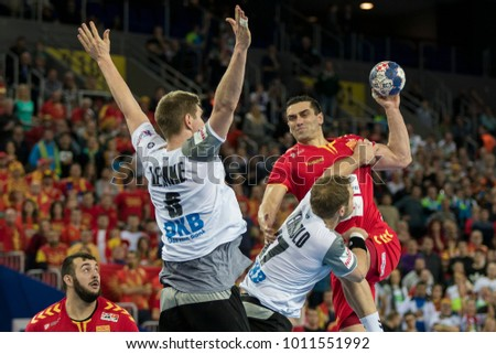 ZAGREB, CROATIA - JANUARY 17, 2018: European Championships in Men's Handball, EHF EURO 2018 main round match Germany vs. FYR Macedonia 25:25. In action Kiril LAZAROV (7)