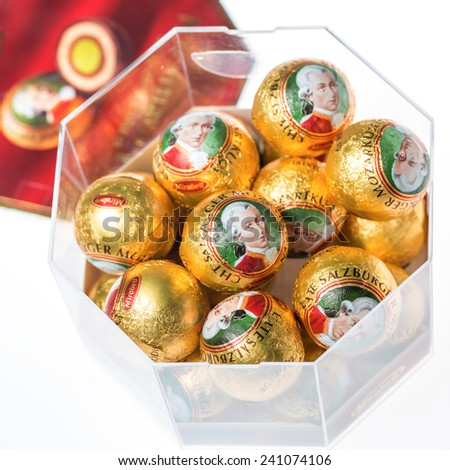 ZAGREB, CROATIA - JANUARY 2, 2015: Mozartkugeln, typical Austrian sweets. Marzipan filled balls were created by Salzburg confectioner Paul Furst in 1890 and named after Wolfgang Amadeus Mozart. - stock photo