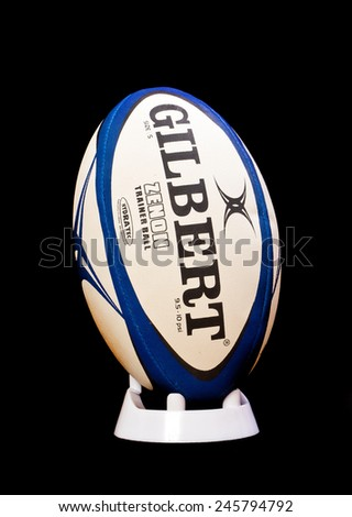 ZAGREB , CROATIA - 20 JANUARY 2015 - official rugby ball by Gilbert on the black background , product shot - stock photo