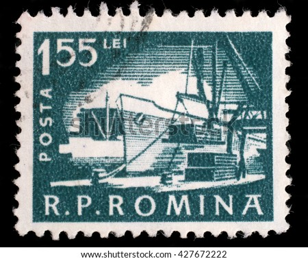 ZAGREB, CROATIA - JULY 18: A stamp printed in the Romania, shows the loading of the ship in port, circa 1960, on July 18, 2012, Zagreb, Croatia - stock photo