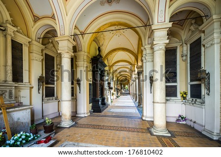 ZAGREB, CROATIA - JULY 25, 2007: Arcades at Mirogoj Cemetery, final resting place of many famous Croatian historic figures and celebrities. They were designed by Herman Bolle and built 1879 - 1929.