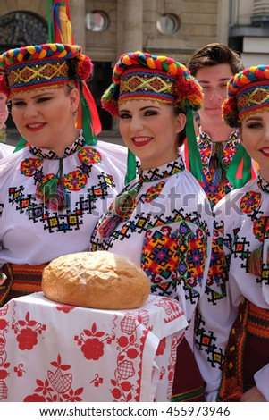 ZAGREB, CROATIA - JULY 20: Members of folk group Sopilka from Vegreville, Alberta, Canada, during the 50th International Folklore Festival in center of Zagreb, Croatia on July 20, 2016