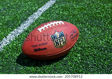 ZAGREB , CROATIA - JULY 18 ,2014 :  official ball of the NFL football league , the Duke on grass turf background , product shot - stock photo