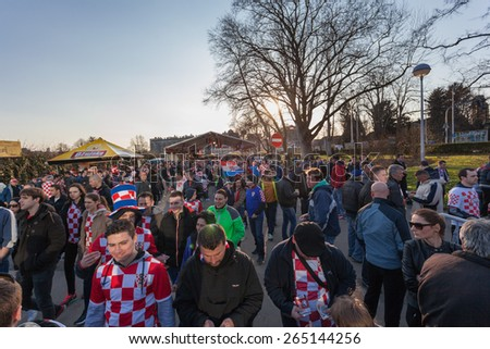 ZAGREB, CROATIA - MARCH 28, 2015: EURO 2016 qualifiers, group H - Croatia VS Norway. Croatian fans in front of the ticket point before the match.