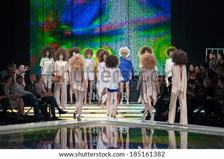 ZAGREB, CROATIA - MARCH 28, 2014: Fashion models wearing clothes designed by Marina Design and Marija Ivanovic accessories on the 'Fashion.hr' fashion show - stock photo