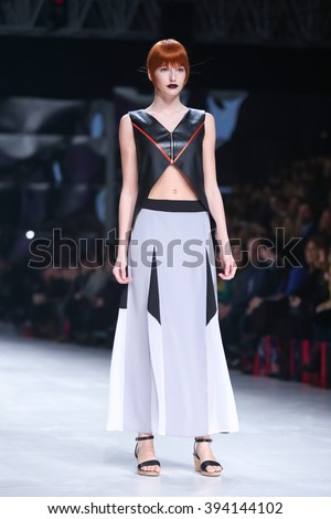 ZAGREB,CROATIA-MARCH 17,2016:Model wearing clothes designed by Hedra Design on the Bipa Fashion.hr fashion show in Zagreb,Croatia.HEDRA Design is a clothing and accessories fashion brand by Ana Jagic.