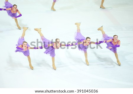 ZAGREB, CROATIA - MARCH 12 : Russia 1 perform in the Juniors Free Skating during Day 2 of the ISU Synchronized Skating Junior World Challenge Cup at Dom Sportova on March 12, 2016 in Zagreb, Croatia. - stock photo