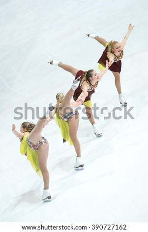 ZAGREB,CROATIA - MARCH 11 :Team Finland2 perform in the Juniors Short Program during Day 1 of the ISU Synchronized Skating Junior World Challenge Cup at Dom Sportova on March 11,2016 in Zagreb,Croatia