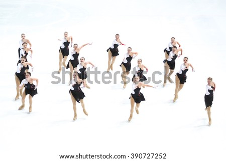 ZAGREB, CROATIA - MARCH 11: Team Russia 1 perform in the Juniors Short Program during Day 1 of ISU Synchronized Skating Junior World Challenge Cup at Dom Sportova on March 11, 2016 in Zagreb, Croatia.