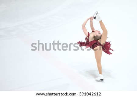 ZAGREB, CROATIA - MARCH 12 : Team USA 1 perform in the Juniors Free Skating during Day 2 of the ISU Synchronized Skating Junior World Challenge Cup at Dom Sportova on March 12, 2016 in Zagreb,Croatia. - stock photo