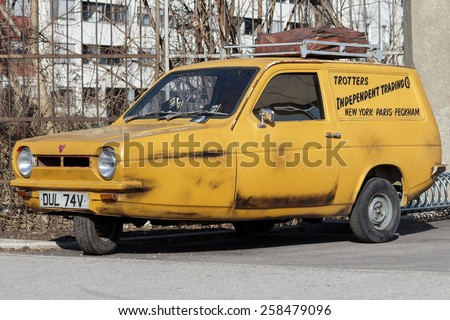 ZAGREB, CROATIA - MARCH 07, 2015: Trotters Independent Traders Reliant Regal as used in Only Fools and Horses. Only Fools and Horses is a British television situation comedy written by John Sullivan. - stock photo