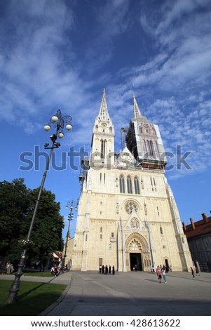 ZAGREB, CROATIA - MAY 26, 2016: An exterior view of the The Zagreb Cathedral on Kaptol. The church is the tallest building in Croatia - stock photo