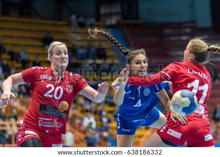 ZAGREB, CROATIA - MAY 7, 2017: Finals of EHF Challenge Cup Lokomotiva vs. Hoors. KAJFES Jelena (4) in action