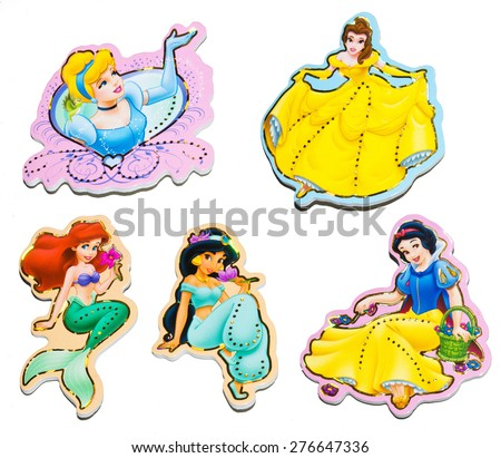 ZAGREB , CROATIA - May 10th , 2015 : Disney princess, cartoon characters from Walt Disney movies on wall stickers  ,product shot