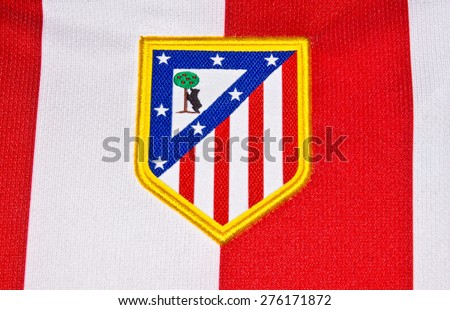 ZAGREB , CROATIA - May 7th , 2015 : Spain football club Atletico Madrid sign on game jersey   ,product shot - stock photo
