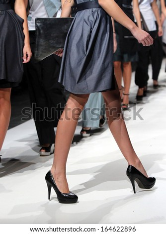 ZAGREB, CROATIA - NOVEMBER 23: Fashion model wearing clothes designed by Artidana and Bags by Kristina on the Zagreb Fashion Week show on November 23, 2013 in Zagreb, Croatia.