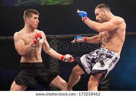 ZAGREB, CROATIA - NOVEMBER 2, 2013: Final fights at Croatian MMA legaue. Matej BATINIC (red gloves) VS Kristijan PERAK (blue gloves). - stock photo