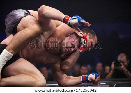 ZAGREB, CROATIA - NOVEMBER 2, 2013: Final fights at Croatian MMA legaue. Sasa MILINKOVIC (red gloves) VS Drazen GLAVAS (blue gloves).  - stock photo