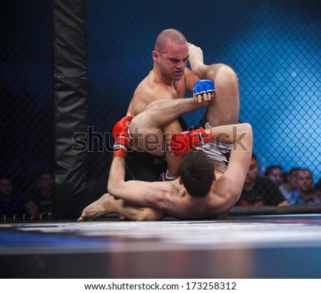 ZAGREB, CROATIA - NOVEMBER 2, 2013: Final fights at Croatian MMA legaue. Zdravko DUKIC (blue gloves) VS Lovro VRKIC (red gloves). - stock photo