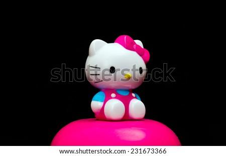 ZAGREB , CROATIA - NOVEMBER 19 , 2014 :  Hello kitty children cartoon character plastic doll  ,product shot - stock photo
