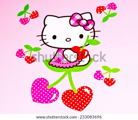 ZAGREB , CROATIA - NOVEMBER 24 , 2014 :  Hello kitty children cartoon character printed on box ,product shot - stock photo
